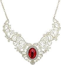 Yazilind joyería elegante del patrón oro chapado hueco flor esculpir Ronda babero Cristal Rojo Collar Collar Señora