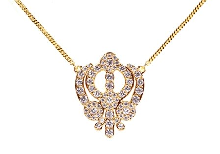 Sterling Silver Symbols of Hope and Protection Necklace Pendant Sikhism 18k Yellow Gold Plating and Cz
