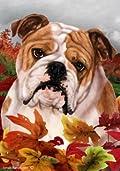 Bulldog Dog Tamara Burnett Fall Leaves Garden Dog Breed Flag 28'' x 40''