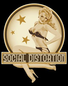 Social Distortion - Blonde Retro Pin Up Girl in Bikini - Sticker / Decal