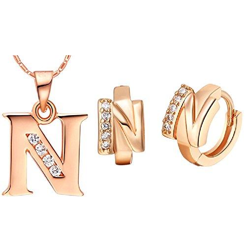 Bling fashion 18K oro rosa placcato 26lettere lettera N collana e orecchini
