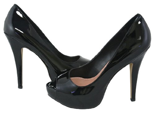 VINCE CAMUTO MILESY 2 BLACK PATENT WOMENS PEEP TOE Size 8.5M