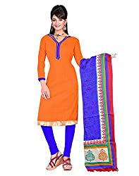 Special Indian Designer Bollywood Casual Wear Bhagalpuri Silk Orange Un Stitch Branded Salwar Suit Dress Material for woman girls From Lookslady