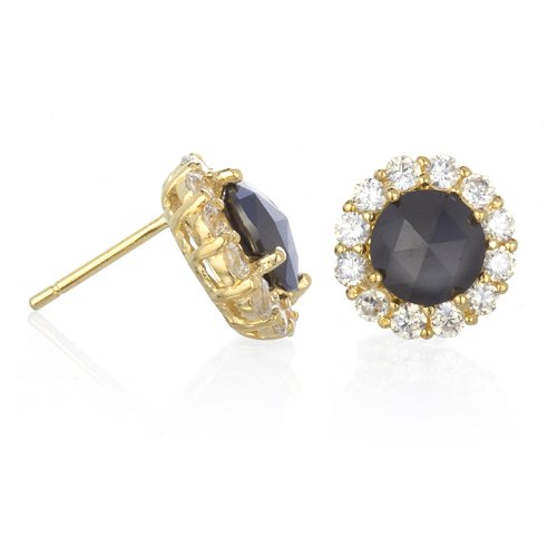 BLACK CZ STUD EARRING IN GOLD PLATE
