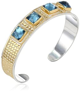 "Anna Beck Designs ""Gili London Blue Quartz"" 18k Gold-Plated Blue Quartz Cushion Cuff Bracelet, 7.5"""
