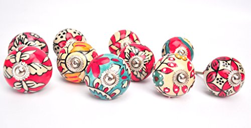 Karmakara Ornate Red Floral Ceramic Knobs For Cabinets & Cupboards - Hand Painted Pulls (Ornate Drawer Knobs compare prices)