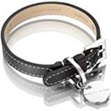 Hennessy & Sons Hand Made Royal British Saddle Leather Dog Collar with White Stitching, 29 - 35 x 1.8 x 0.3 cm, 60 g, Black
