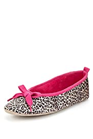 Animal Print Bow Ballerina Slippers