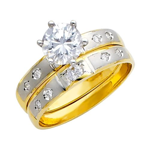 14K Yellow and White 2 Two Tone Gold High Poliosh Finish Round-cut Top Quality Shines CZ Cubic Ziconia Solitaire Ladies Engagement Ring and Wedding Band 2 Two Piece Set - Size 4