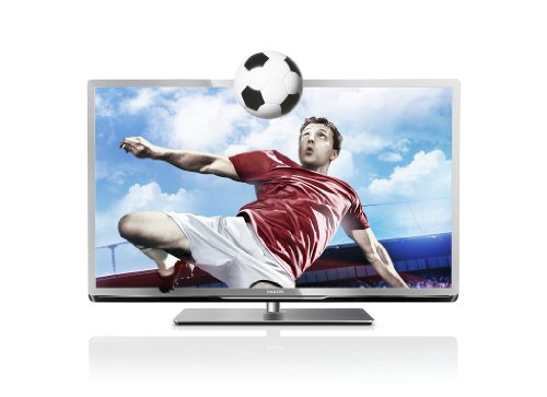 Philips 46PFL5507K/12 117 cm (46 Zoll) 3D LED-Backlight-Fernseher, Energieeffizienzklasse A+ (Full-HD, 400Hz PMR, DVB-C/T/S, CI+, Smart TV Plus, WiFi, USB Recording) silber schwarz gebürstet