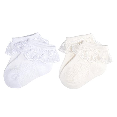 Epeius Baby-Girls Newborn Eyelet Frilly Lace Socks Princess White/Beige(Pack of 2) 0-6 Months