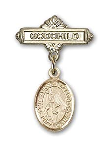 Gold Filled Baby Badge with St. Margaret of Cortona Charm and Godchild Badge Pin