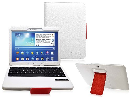 Cod(Tm) Bluetooth Keyboard Tablet Stand Leather Case For Samsung Galaxy Tab 3 10.1 (White/Red)