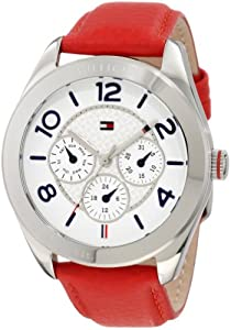 Tommy Hilfiger Women's 1781203 Sport Multifunction Stainless Steel and Red leather Watch