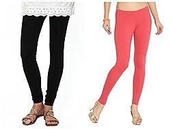 Kamaira Clothings Women's Cotton Leggings (Pack Of 2) (Kamaira_c8_ Black Caret Red_Free Size)