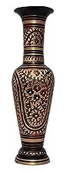 Kapasi Handicrafts Brass Etching Work Flower Pot (10 cm x 10 cm x 34 cm)