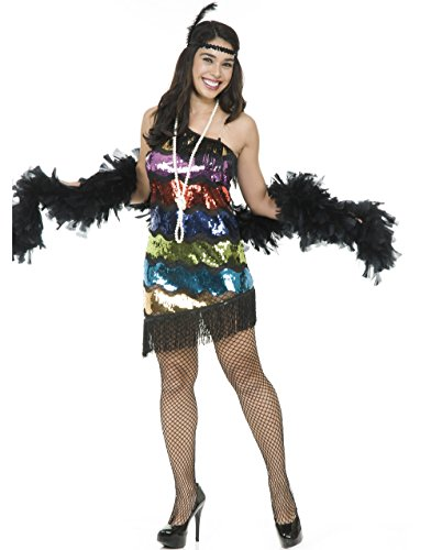 Womens Sexy Sequin Roaring 20's Flapper One Strap Dress Costume