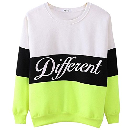 Donne Different Stampa Manica Lunga Pullover Shirt Top Camicetta Felpa