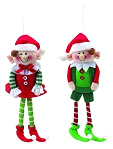 Santa's Little Helper Christmas Ornament - Christmas Elf Stuffed Plush