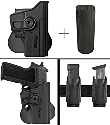 Sig Sauer Sigtac P250C P250 Compact Rotates 360 Right Hand Paddle Holster, Black + Ultimate Arms Gear 9mm/.40/.45 Magazine Belt Clip Pouch Holder
