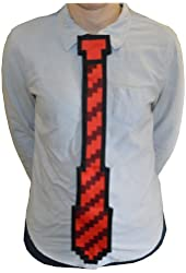 The ThinkGeek 8-bit Tie One Size Fits All Clip On Red