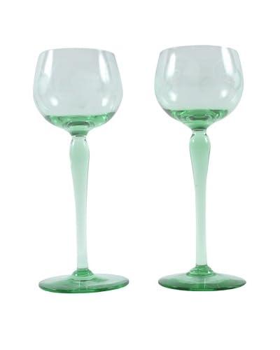 Pair of Paris Green Wine Glasses