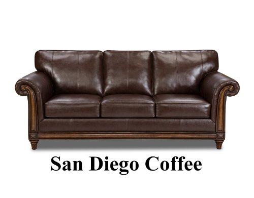 San Diego Coffee Leather Sofa & Loveseat Living Room Set