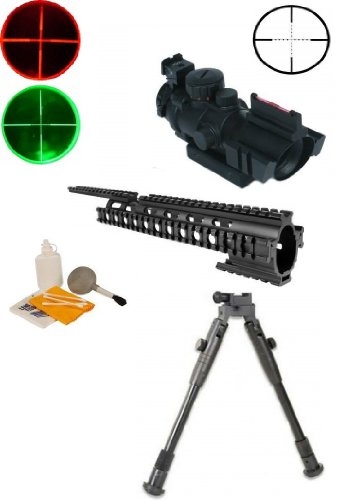 "Ultimate Arms Gear Black Finished Machined Aluminum Ruger 1022 10/22 10-22 Rifle 15"" Picatinny Accessory Mount System Forend + 4X32 Red/Green P4 Rangefinder Reticle Scope With Top Fiber Optic Sight - Includes Lithium Battery + Lens Cleaning Kit + Deluxe H front-7589"