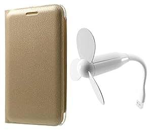 Novo Style Samsung GalaxyA7 (2016) Folio PU Leather Case Slim Cover with Stand+ Mini USB Fan Adjust Angle / bendable Portable Flexible USB Fan