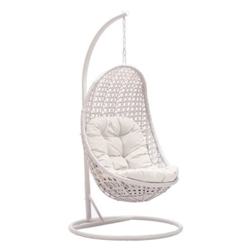 MOJO SOLUTIONS  Daydreamer Wicker Patio/Garden/Hotel Resort Hanging Oval Swing  Chair With Cushions Ivory White