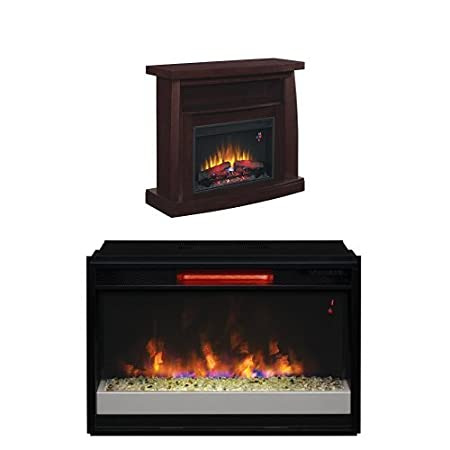 "Complete Set Boomerang Dual Entertainment Mantel in Embossed Midnight Cherry with 26"" Contemporary Infrared Spectrafire Plus Insert with Safer Plug"