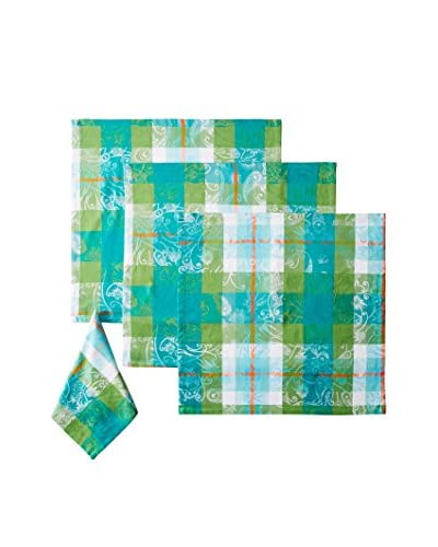 Garnier-Thiebaut Set of 4 Mille Panache Napkins, Peacock