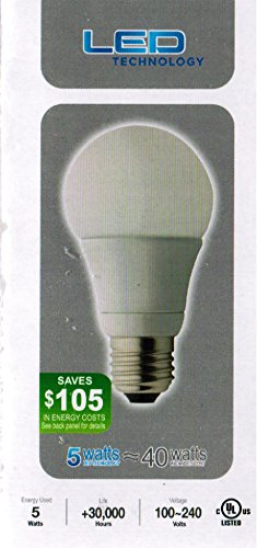3 Pack A19 E26/27 Led Bulb 5W Warm White Etl Listed