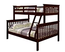 Hot Sale Bunk Bed Twin over Full Mission Style in Cappuccino