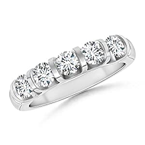 Five Stone Diamond Wedding Band in 14K White Gold