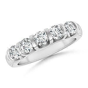 Five Stone Diamond Wedding Band in 14K White Gold