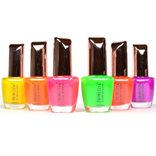 """PRINCESSA """"GLOW IN THE DARK #01"""" NAIL POLISH COLLECTION! LOT OF 6 LACQUER + FREE EARRING"""