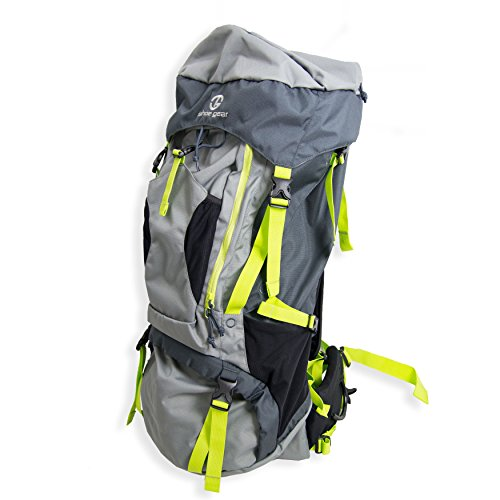 Tahoe Gear Fairbanks 75L Premium Internal Frame Hiking Backpack, Gray and Green (Tahoe Gear compare prices)