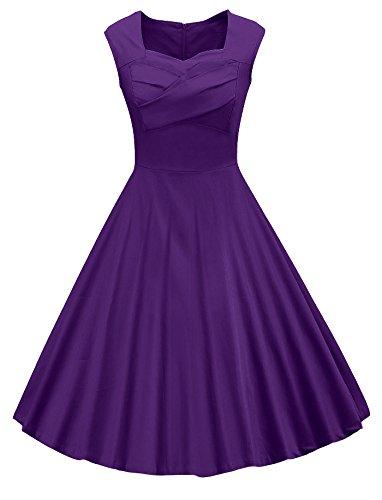 VOGVOG Women's 1950s Retro Vintage Cap Sleeve Party Swing Dress, Purple, Medium