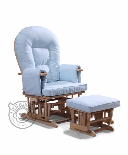 BABY BLUE SUPREMO BAMBINO Nursing Glider/Gliding Rocking Maternity Chair with Free Footstool and Protective Cover
