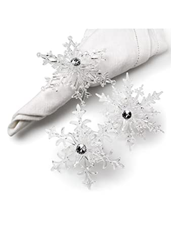 Clear Acrylic Snowflake Snow Set of 6 Elegant Napkin Rings