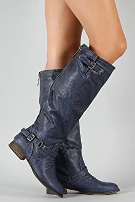 Ladies Navy Blue Knee High Riding Designer Cowboy Boots feat Full Back Zip Closure