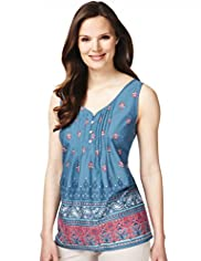 Pure Cotton Paisley Border Print Camisole Top