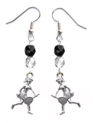 """""""Tennis Girl"""" Tennis Earrings (Team Colors Black & Silver)"""
