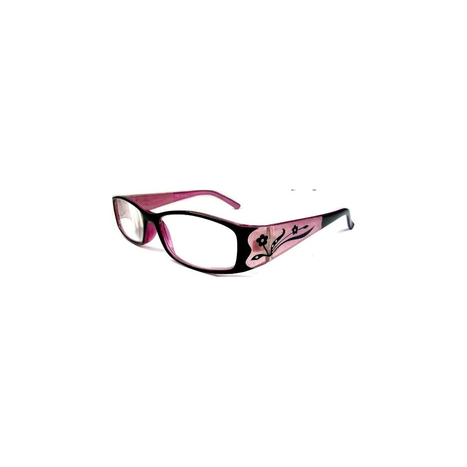 Reading Glasses +3.25 Womens Pink & Black Frame Flower Design on Arms
