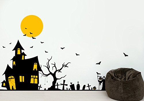 PopDecors - Halloween Ghost House Decals - Beautiful Tree Wall Decals for Kids Rooms Teen Girls Boys Wallpaper Murals Sticker Wall Stickers Nursery Decor Nursery Decals PT-0184