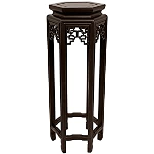 Oriental Furniture Asian Furniture and Decor 28-Inch Qing Chinese Rosewood Hexagonal Pedestal and Display Stand