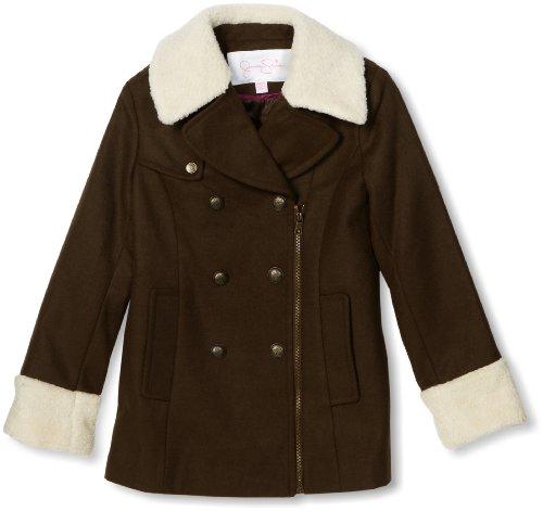 Jessica Simpson Coats Girls 7-16 Asymmetrical Zipper, Olive, Medium