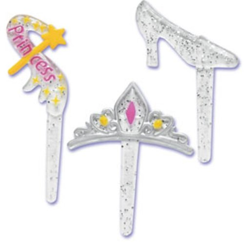 24 Count Princess Glitter Cupcake Picks Toppers Party Supplies Tiara Slipper Wand