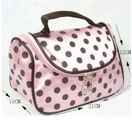 Bds - Pink With Black Dot Travel Toiletry Cosmetic Makeup Bag Organizer